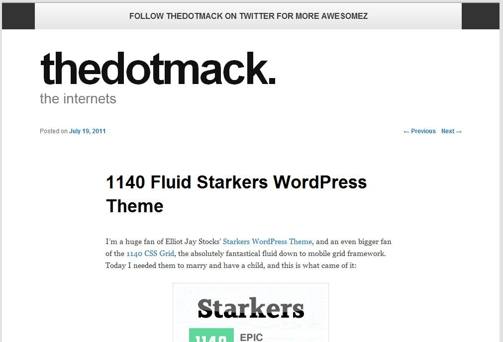 Plantilla gratis 1140 Fluid Starkers Responsive Web Design