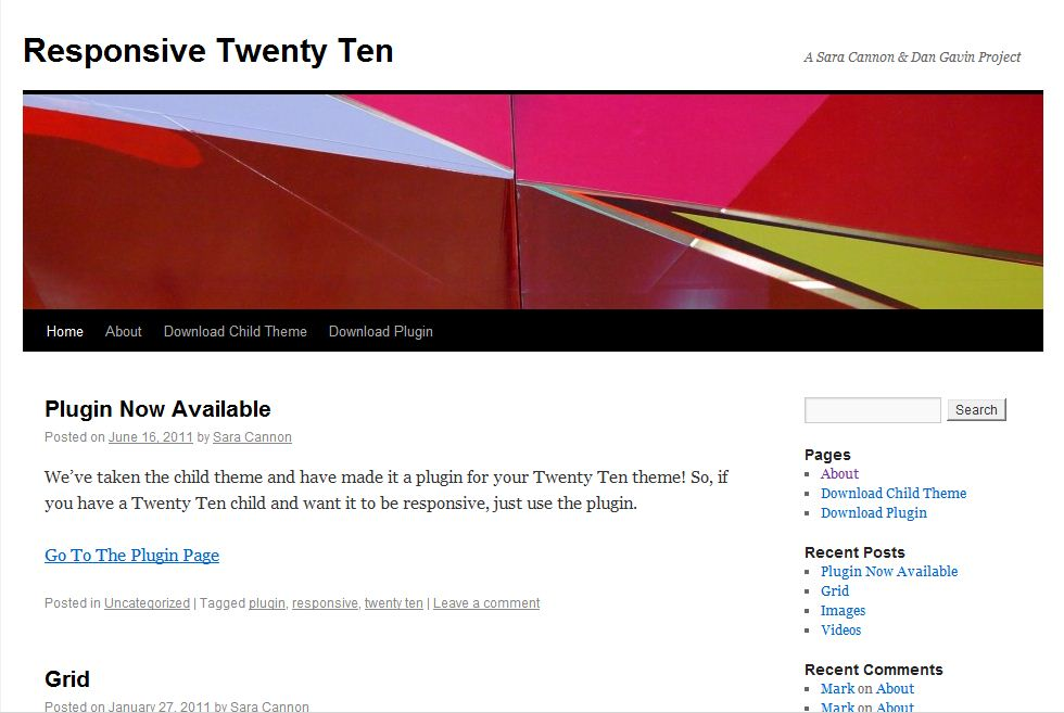 Plantilla gratis Responsive Twenty Ten Responsive Web Design