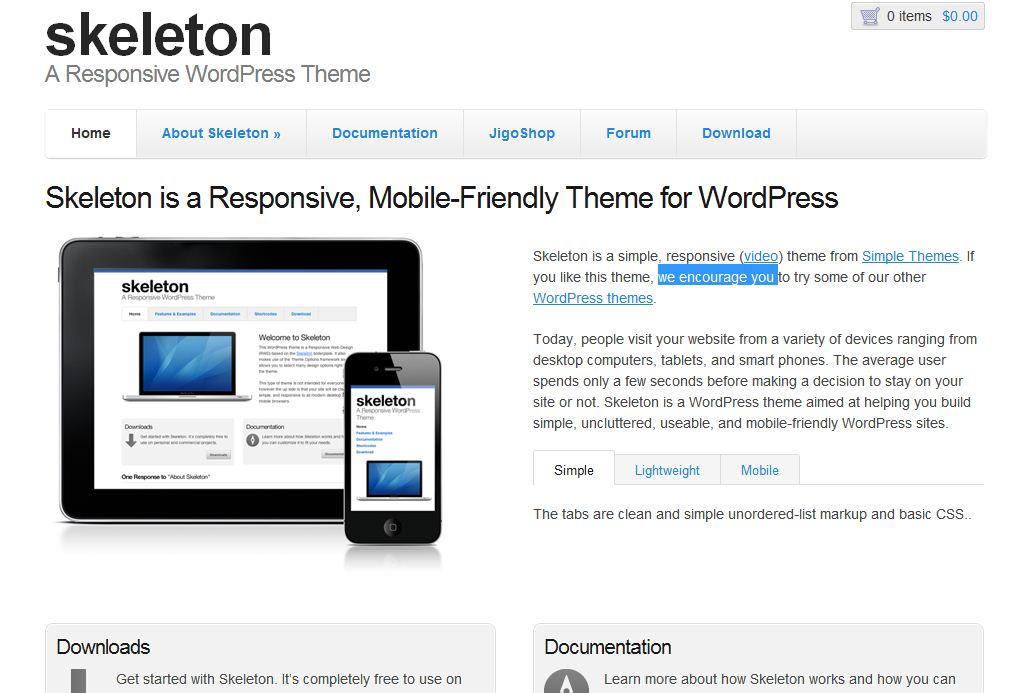 Plantilla gratis Skeleton Responsive Web Design