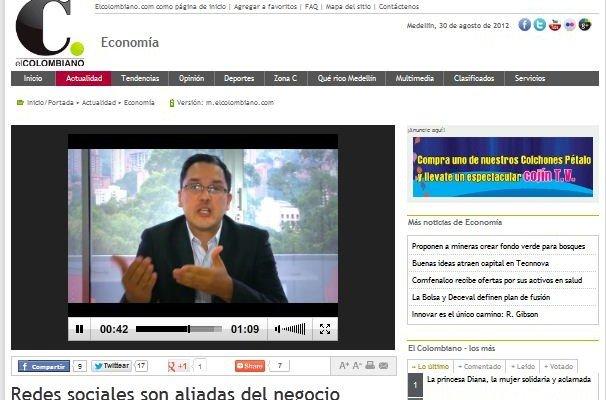 Hablando en El Colombiano sobre el uso de las redes sociales para las empresas