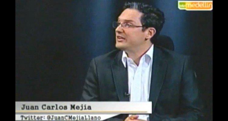 Juan Carlos Mejía Llano en programa de televisión de Negocios en Telemedellín