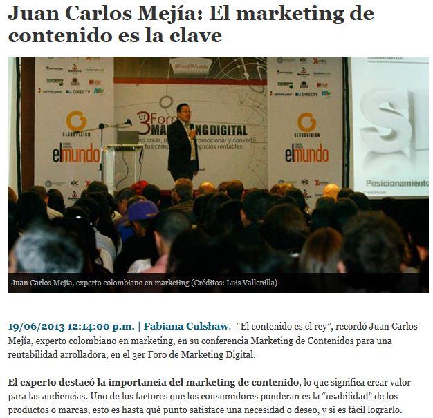 Artículo sobre ROI en el Marketing de Contenido en el portal El Mundo de Caracas