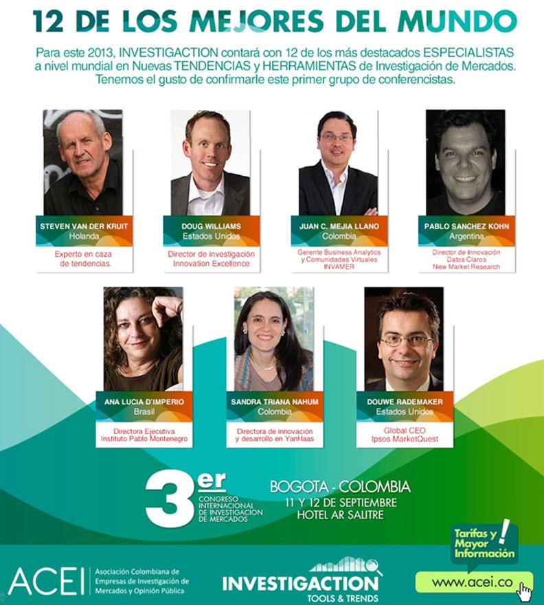 Juan Carlos Mejía Lalno conferencista en el congreso de investigación de mercados ACEI 2013