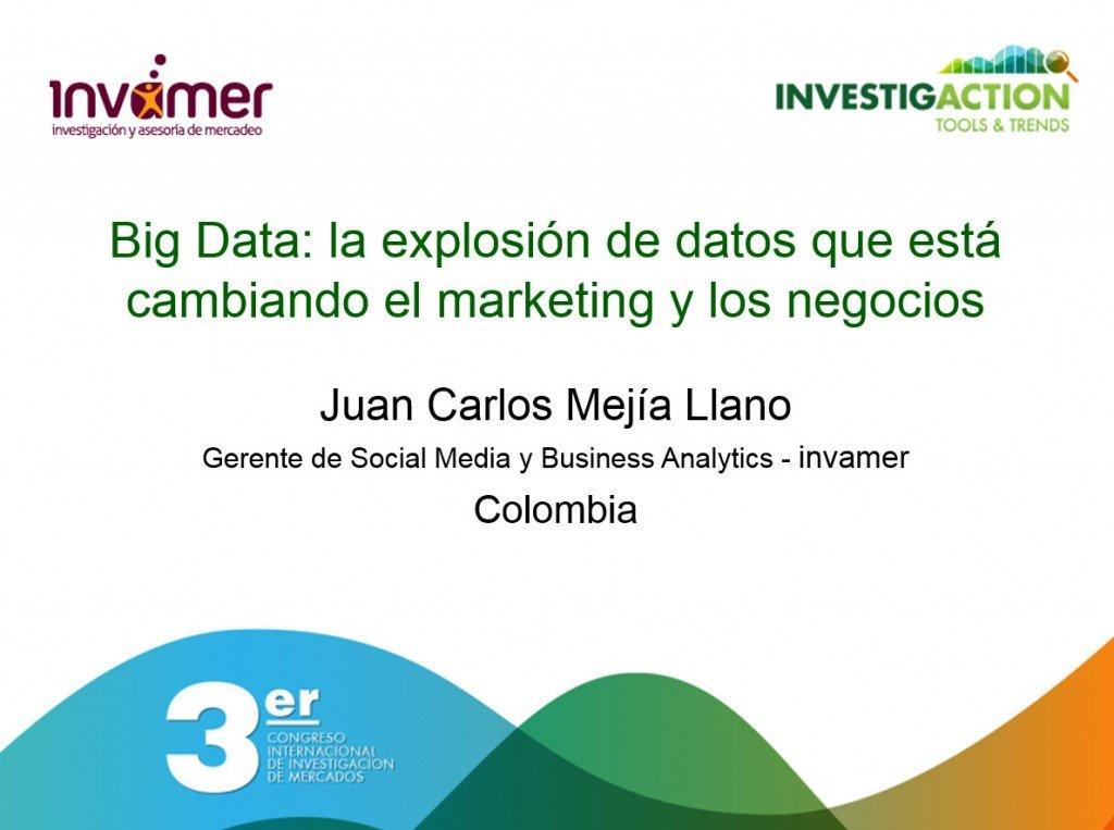 Juan Carlos Mejia Llano - Big Data la explosion de datos que esta cambiando el marketing y los negocios