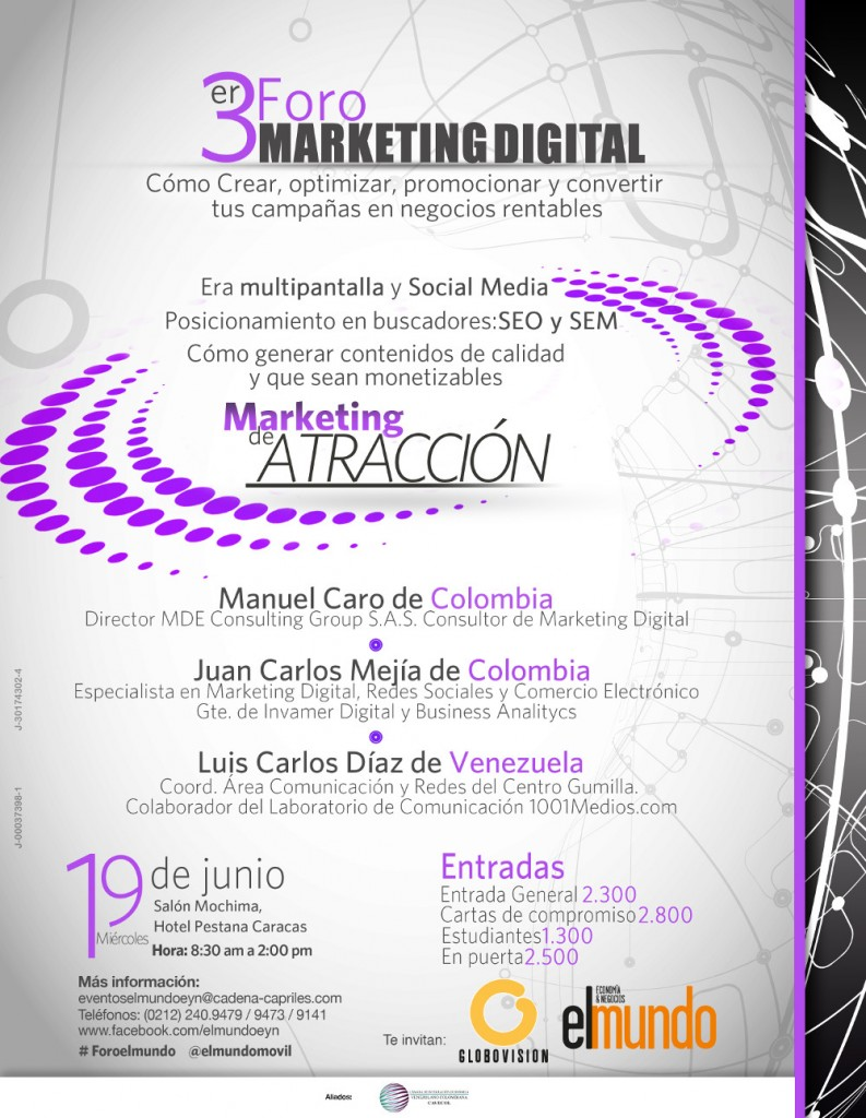 Promoción del evento tercer foro de Marketing Digital en Caracas