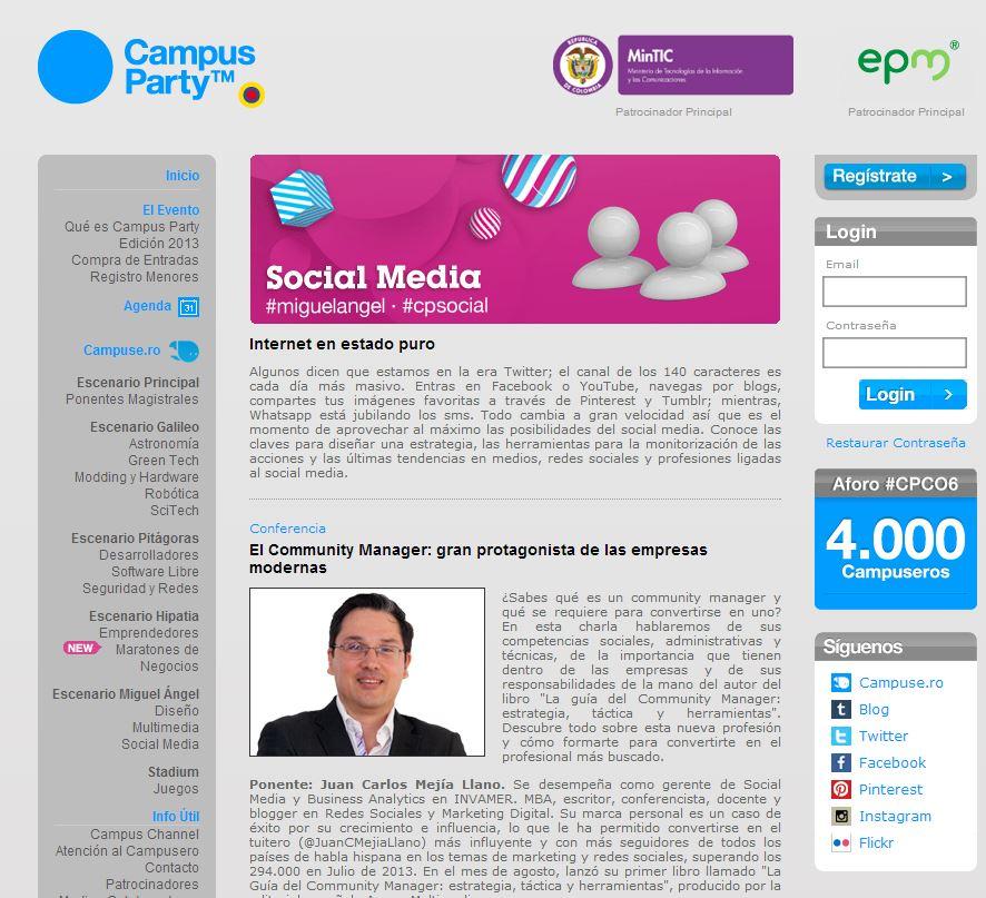 Promocion Juan Carlos Mejia Llano en el Campus Party Medellin 2013