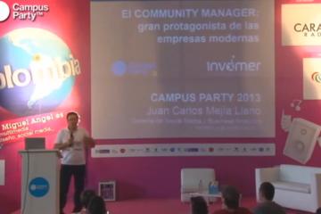 Juan Carlos Mejia Llano en el Campus Party Medellin 2013 hablando de Community Manager