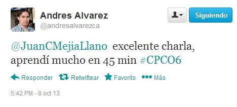 Tuit en conferencia de Juan Carlos Mejía Llano en Campus Party 13