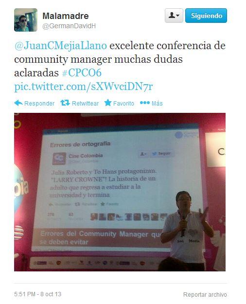 Tuit en conferencia de Juan Carlos Mejía Llano en Campus Party 4