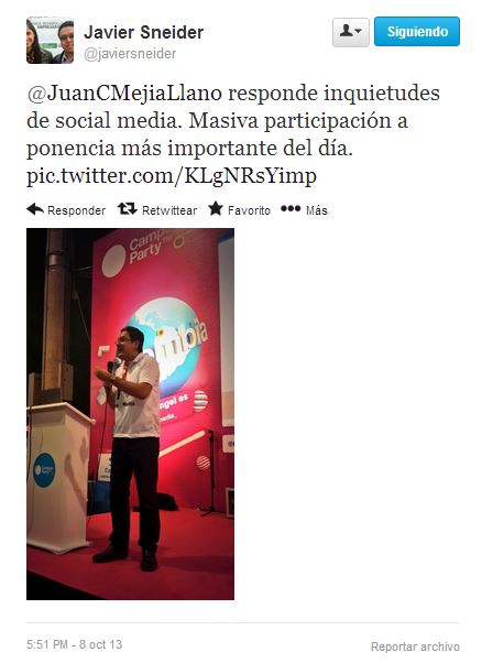 Tuit en conferencia de Juan Carlos Mejía Llano en Campus Party 5