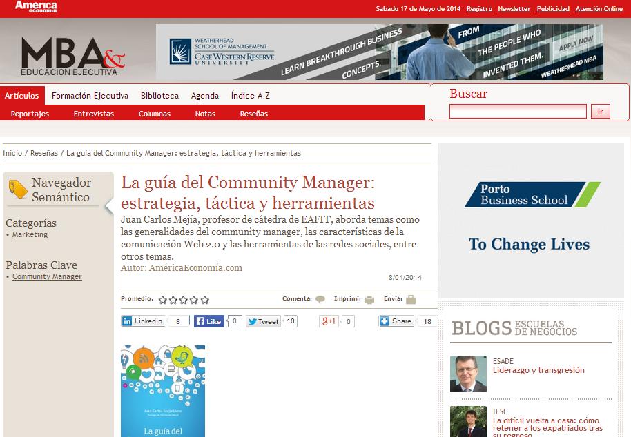Articulo La guía del Community Manager en el portal America Economia