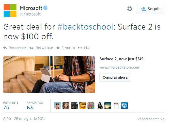 Microsoft Twitter ecommerce