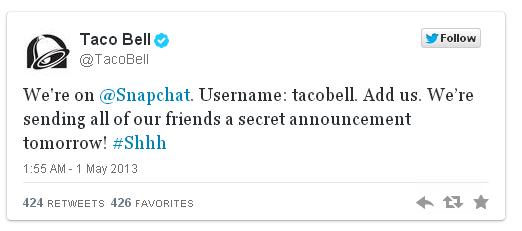 Campaña Snapchat Taco Bell