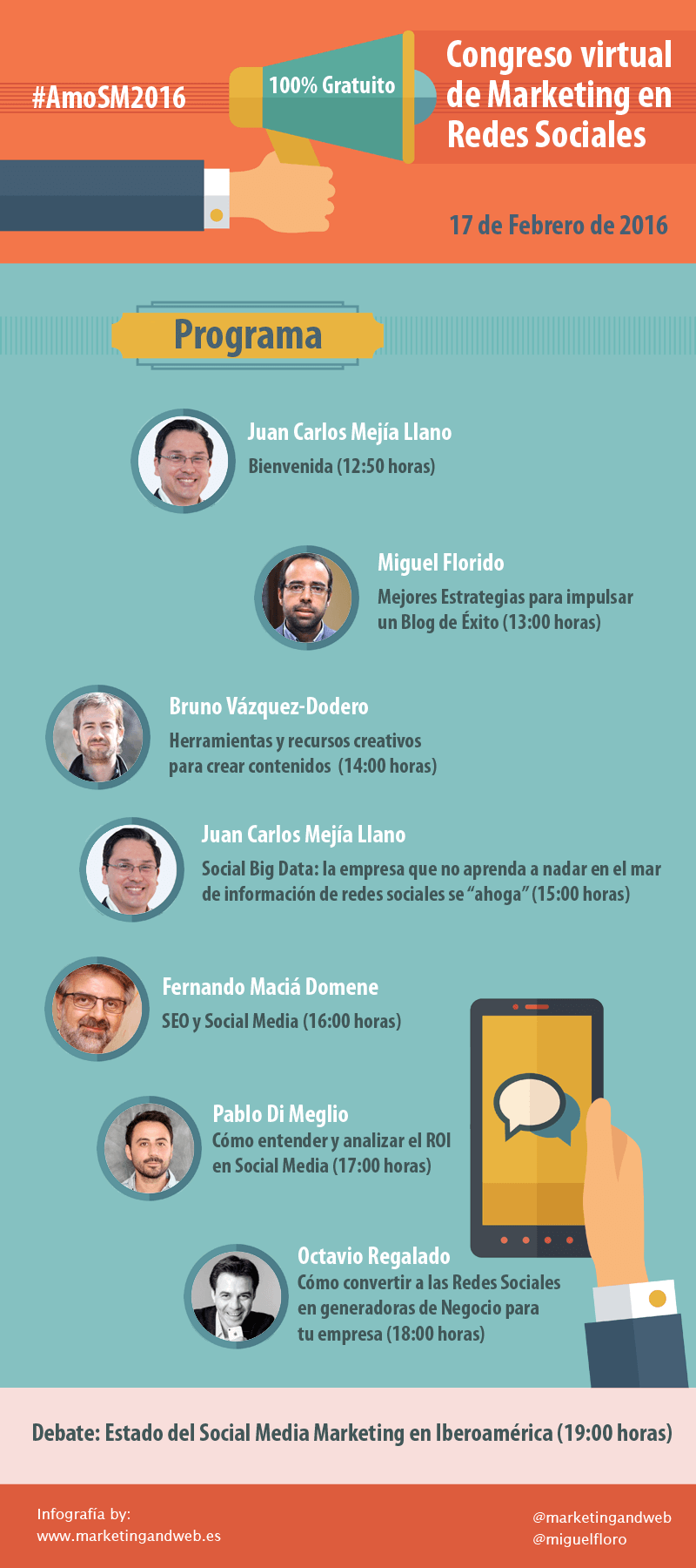 "Infografia Congreso Virtual Gratuito Social Media Marketing Online ""AmoSM2016"