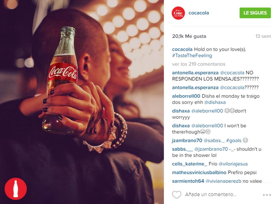 Contenido emocional Instagram Cocacola