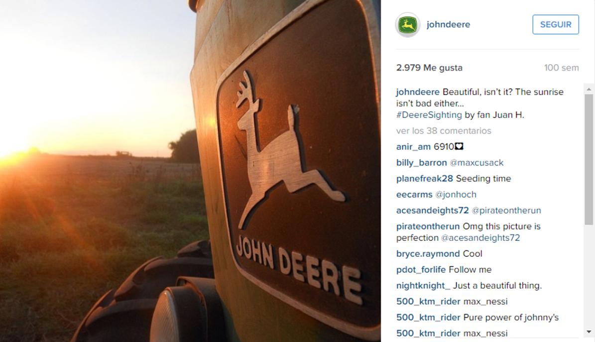 Forma novedosa de mostrar la marca Instagram John Deere