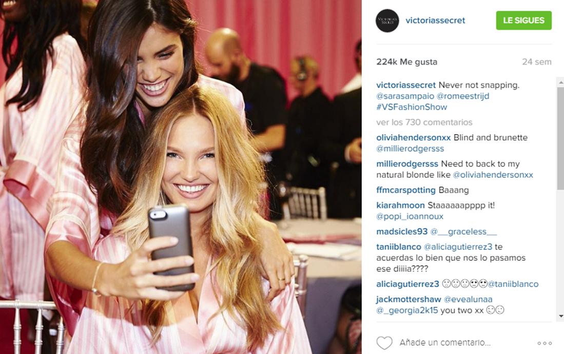 Foto detrás de escena en Instagram Victorias Secret