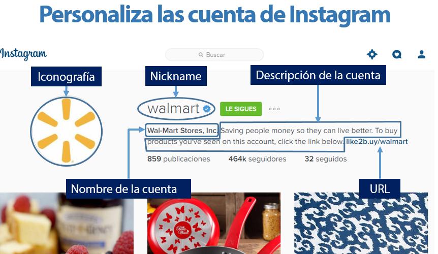Personalización de cuenta de Instagram
