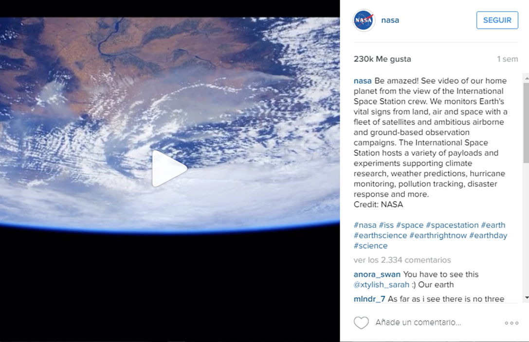 Video en Instagram Nasa