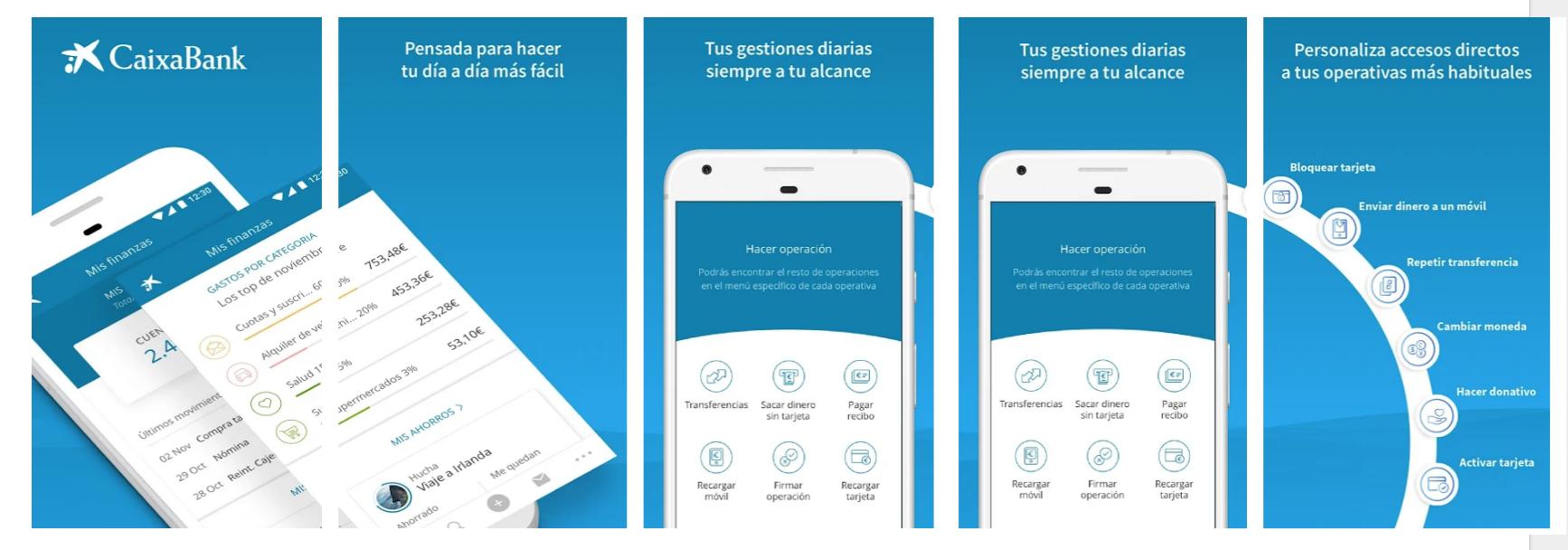 Screenshots App CaixaBank